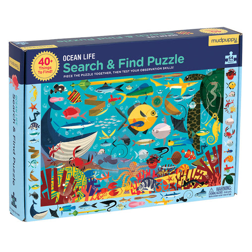 Mudpuppy Ocean Life 64 Piece Search & Find Puzzle Box