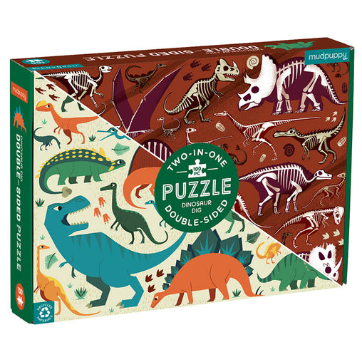 Mudpuppy Double Sided 100 Piece Dinosaur Dig Puzzle Box