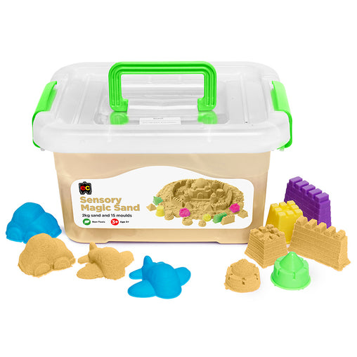 Educational Colours Sensory Magic Sand with Moulds Natural 2kg Tub