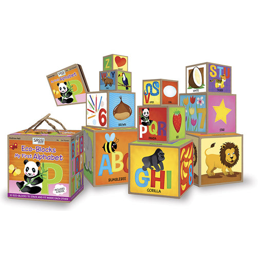 Sassi Junior My First Alphabet Eco-blocks Plus a Book Contents