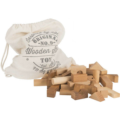 Wooden Story Natural Blocks in a Cotton Sack 100 Pieces