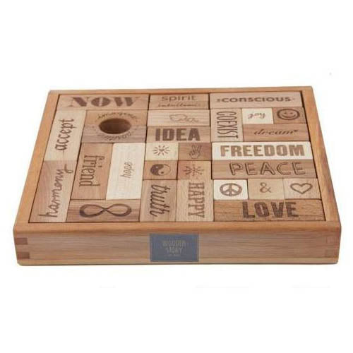 Wooden Story Natural Peace & Love Blocks 108 Pieces