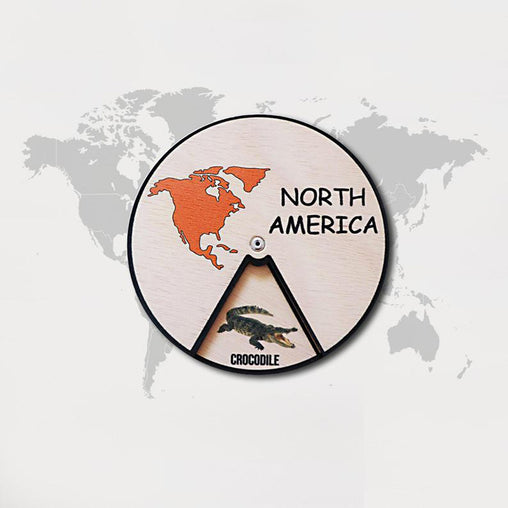 Minisko Learning Wheel Animal & Continents North America