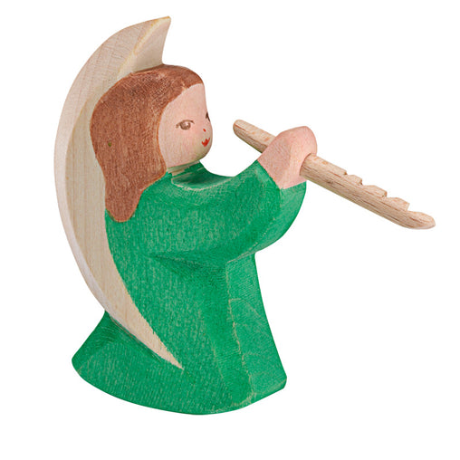 Ostheimer Wooden Green Angel Playing Flute
