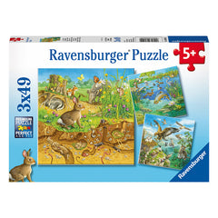 Ravensburger Animals In Their Habitats 3 x 49 Piece Puzzle Packaging