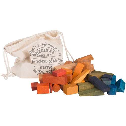 Wooden Story Rainbow Blocks in a Cotton Sack 100 Pieces