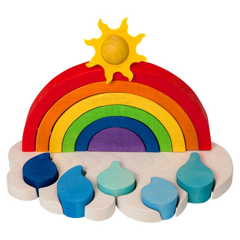 Fauna Wooden Stacker Rainbow Playset