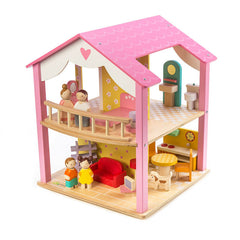 Tender Leaf Toys Pink Leaf Doll House with Furniture and Dolls Front
