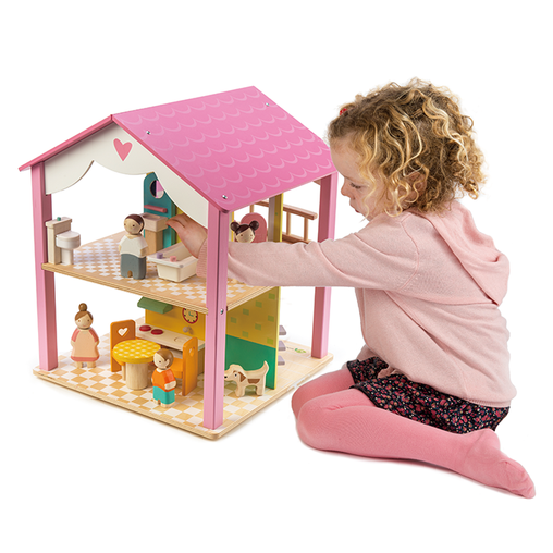 Tender Leaf Toys Pink Leaf Doll House with Furniture and Dolls