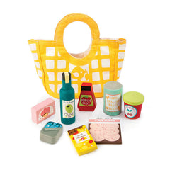 Tender Leaf Toys Grocery Calico Bag with 9 Wooden Accessories