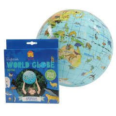 Tiger Tribe Inflatable World Globe with Animals with Packaging
