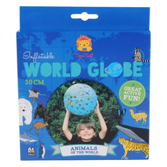 Tiger Tribe Inflatable World Globe with Animals Front Packaging