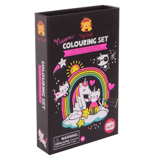 Tiger Tribe Colouring Set Neon Unicorns and Friends Packaging