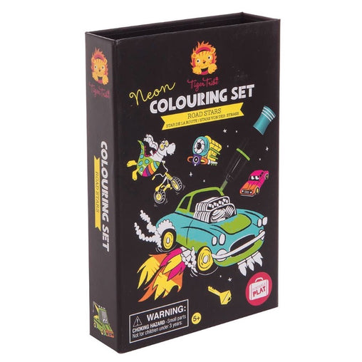 Tiger Tribe Colouring Set Neon Road Stars Packaging