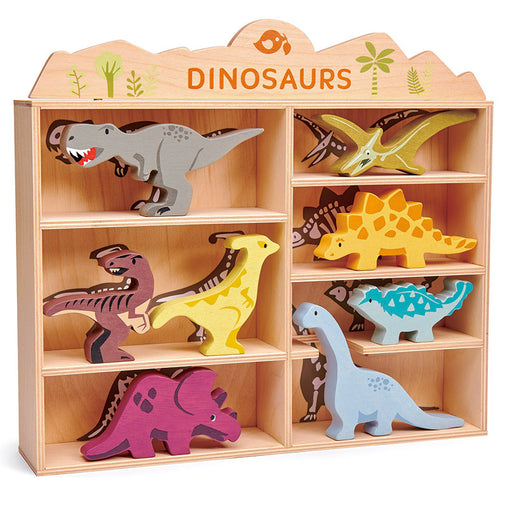 Tender Leaf Wooden Dinosaurs with Display