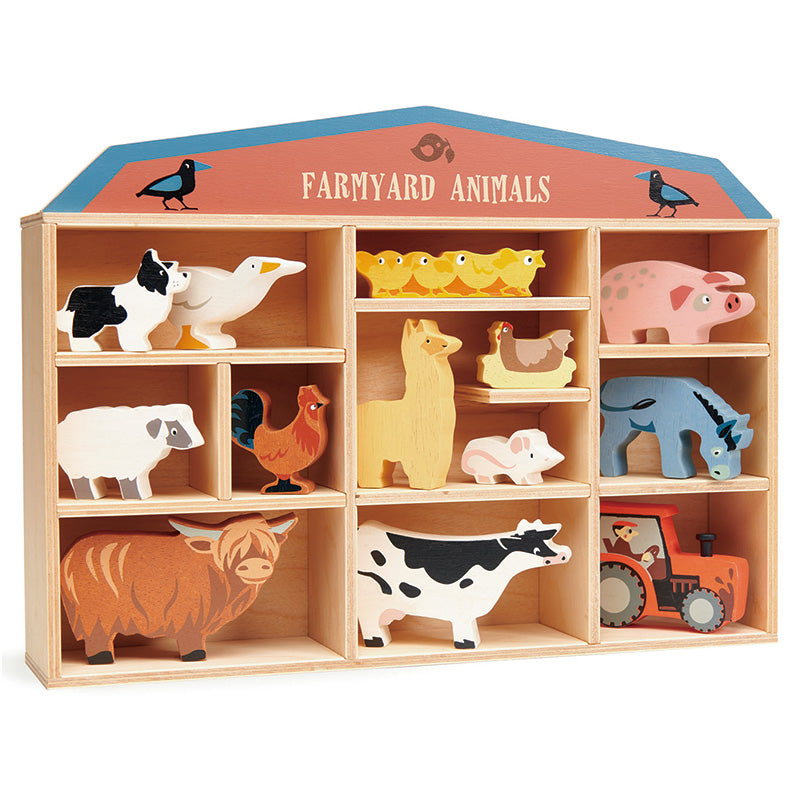 Wooden Farm Animals with Display