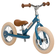 Trybike Blue Vintage Steel 2 in 1 Trybike with Cream Tyres