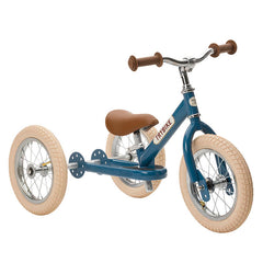 Trybike Blue Vintage Steel 2 in 1 Trybike with Cream Tyres Front