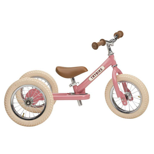 Trybike Pink Vintage Steel 2 in 1 Trybike with Cream Tyres
