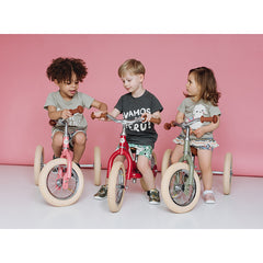 Trybike Pink Vintage Steel 2 in 1 Trybike with Cream Tyres 2 Children Riding