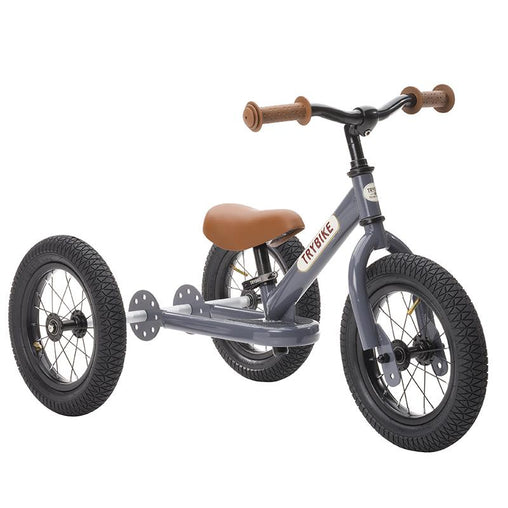 Trybike Grey Vintage Steel 2 in 1 Trybike with Cream Tyres Trike