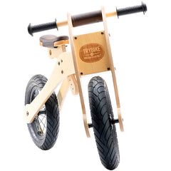 Trybike Wooden 4-in-1 Balance Bike and Trike Brown High Bicycle 2