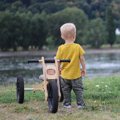 Trybike Wooden 4-in-1 Balance Bike and Trike Brown Boy 2