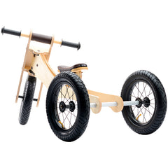 Wooden 4 in1 Balance Bike and Trike Brown
