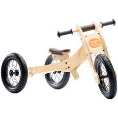 Trybike Wooden 4-in-1 Balance Bike and Trike Brown