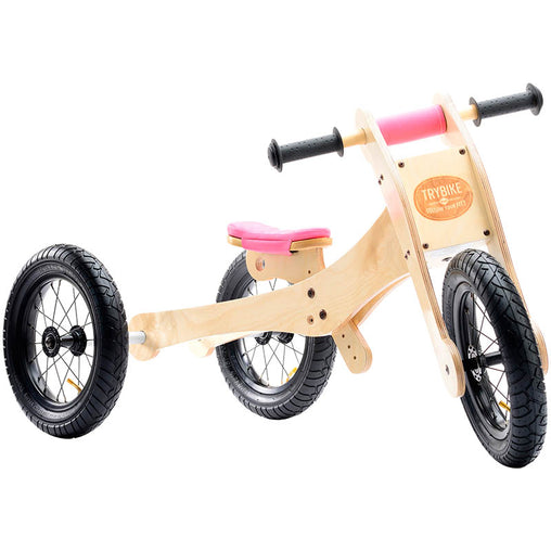 Trybike Wooden 4-in-1 Balance Bike and Trike Pink