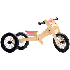 Trybike Wooden 4-in-1 Balance Bike and Trike Pink Low Trike