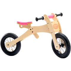 Trybike Wooden 4-in-1 Balance Bike and Trike Pink High Bicycle 2