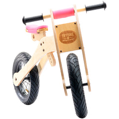 Trybike Wooden 4-in-1 Balance Bike and Trike Pink High Bike Front