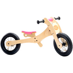 Trybike Wooden 4-in-1 Balance Bike and Trike Pink Low Bicycle 2