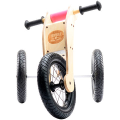 Trybike Wooden 4-in-1 Balance Bike and Trike Pink Front View