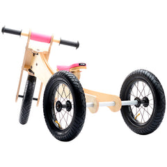 Trybike Wooden 4-in-1 Balance Bike and Trike Pink Back View