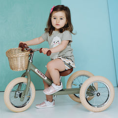 Trybike Green Vintage Steel 2 in 1 Trybike with Cream Tyres Girl