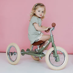 Trybike Green Vintage Steel 2 in 1 Trybike with Cream Tyres Girl Trike