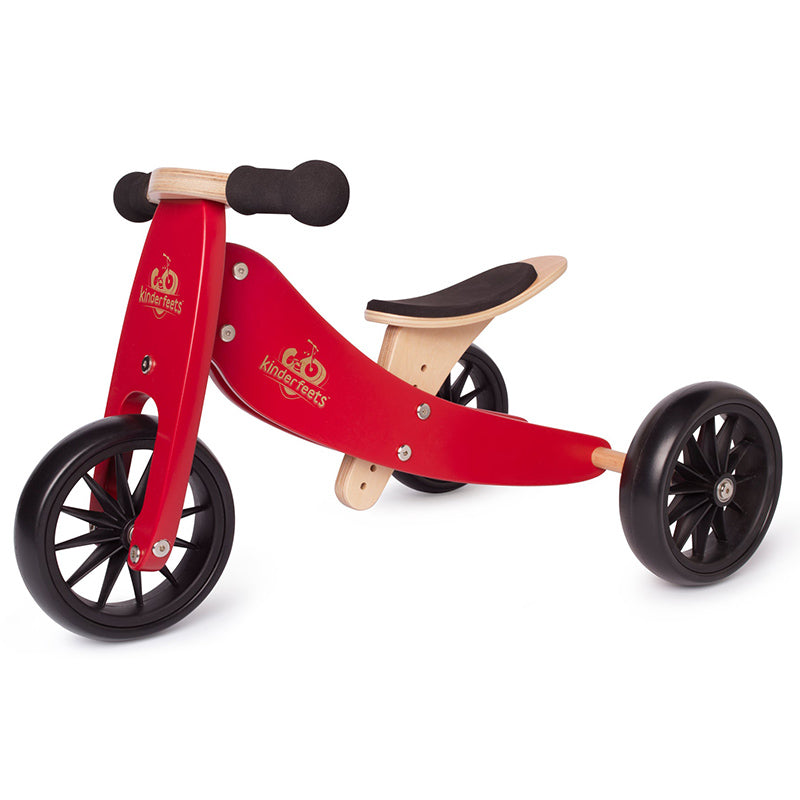 Kinderfeets Tiny Tot Cherry Red 2-in-1 Balance Bike and Tricycle Trike
