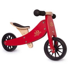 Kinderfeets Tiny Tot Cherry Red 2-in-1 Balance Bike and Tricycle Trike 2 wheels