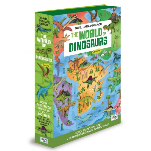 Sassi Junior Travel, Learn and Explore the World of Dinosaurs 200 Piece Puzzle and Book