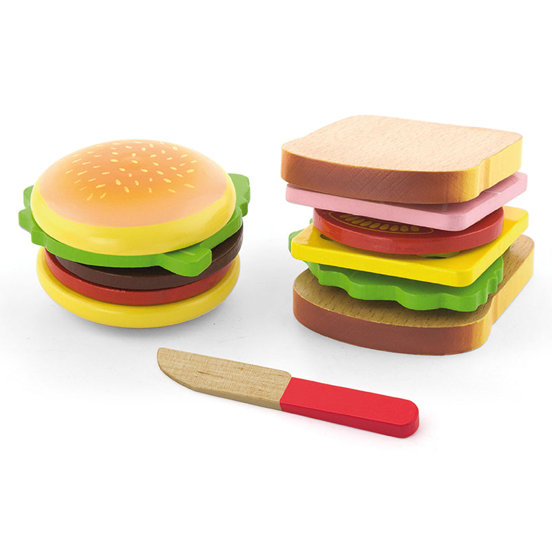 Viga Hamburger and Sandwich Wooden Play Food