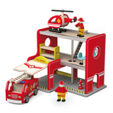 Wooden Fire Station with Accessories