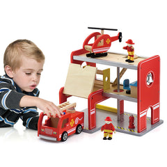 Viga Wooden Fire Station with Accessories Boy