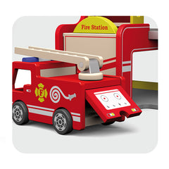 Viga Wooden Fire Station with Accessories Engine