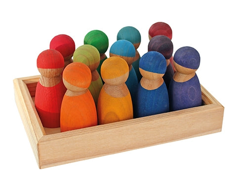 Rainbow Wooden Friends 12 Pieces Cherrywood