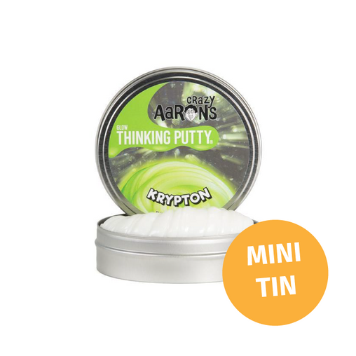 Crazy Aarons Thinking Putty - Mini Tin Glow in the Dark Krypton Putty