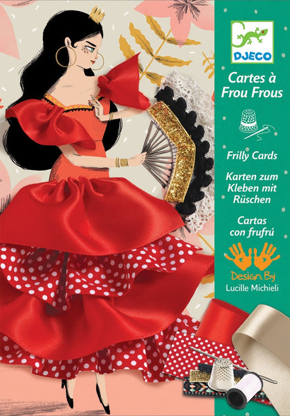 Djeco - Flamenco Sewing Frilly Cards Kit