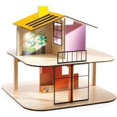 Djeco Wooden Colour Doll House Unfurnished