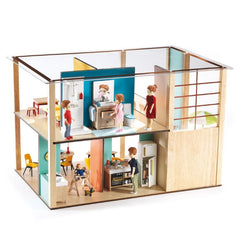 Djeco Wooden Cubic Doll House Back View